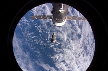 ISS in front of the Earth