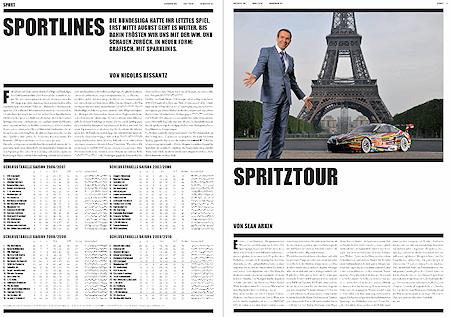 """Traffic News-to-go, Ausgabe Juni 2010. Seite 6: Artikel """"Sportlines"""" über Sparklines in der Sportberichterstattung, Seite 7: Artikel """"Spritztour"""" über Jeff Koons."""