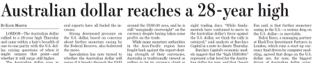 Australian dollar reaches a 28-year high. - Quelle: Wall Street Journal Europe, 15.10.2010, S. 4.