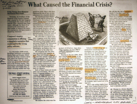 What Caused the Financial Crisis? By Bill Thomas, Keith Hennessey and Douglas Holtz-Eakin. - Quelle: Wall Street Journal Europe, 28.01.2011, Seite 13.