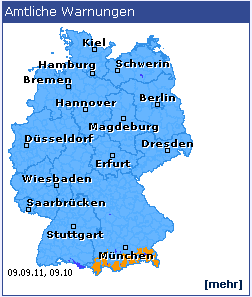 Official warnings on the Deutscher Wetterdienst website
