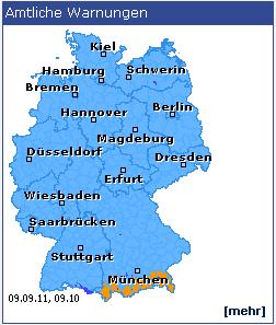 Amtliche Warnungen auf der Homepage des Deutschen Wetterdienstes