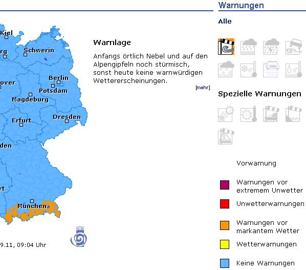 Warnkarte des Deutschen Wetterdienstes mit Legende
