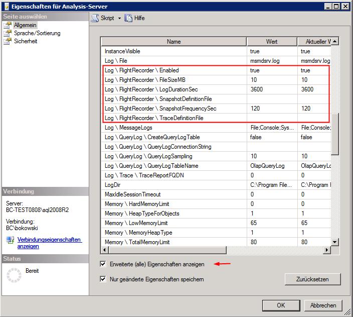 Eigenschaften für Analytics Server