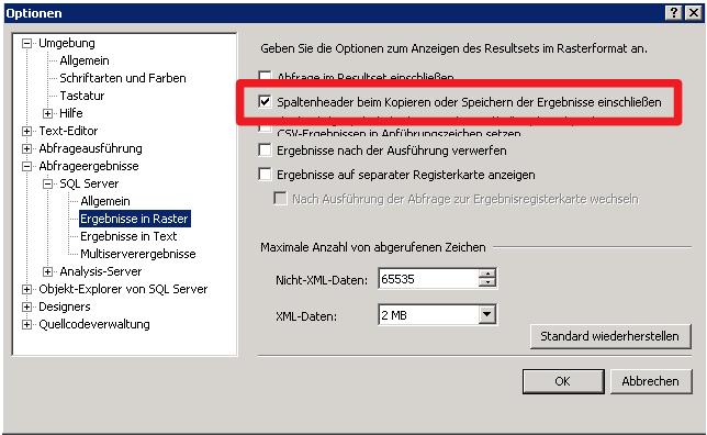 Einstellungen im SQL Managementstudio für Export