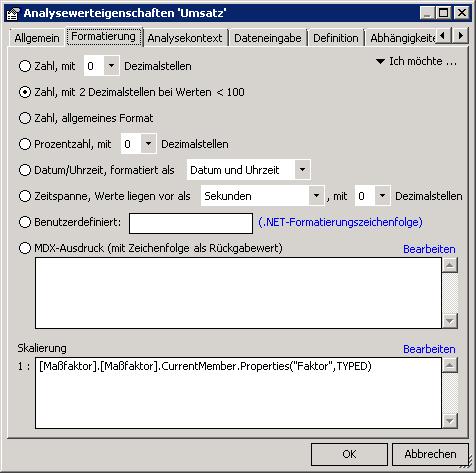 Analysewerteigenschaften um MDX Eintrag erweitern