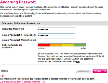 Change password/security level of password. Source: t-mobile.de.
