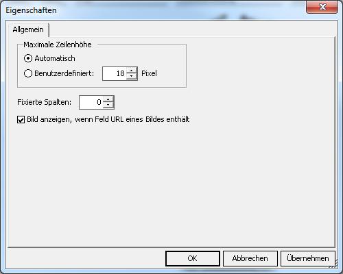 Eigenschaften SQL-Durchgriff