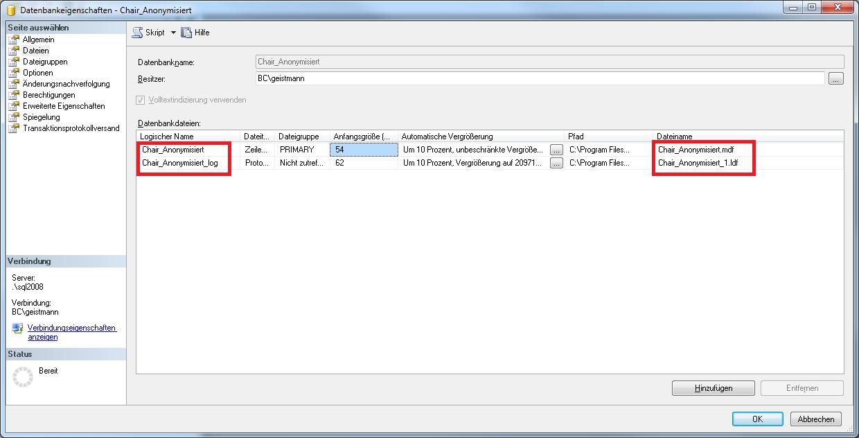 Dateinamen bei der Wiederherstellung relationaler Datenbanken