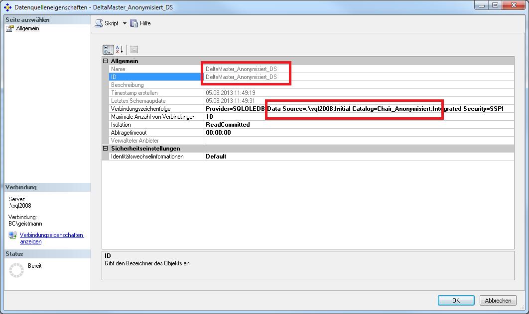 Überprüfung der Einstellungen in Microsoft Analysis Service am Beispiel der Datenquelleneigenschaften
