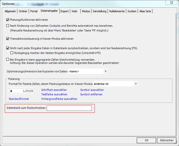Optionen für OLAP-Datenbank zum Rückschreiben