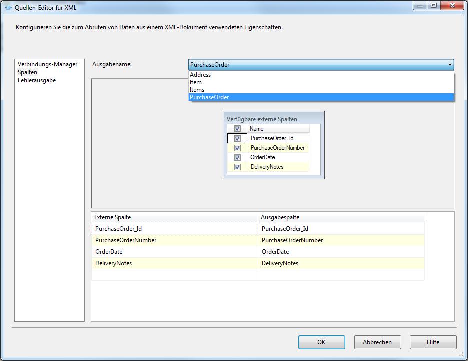 Quellen-Editor für XML – Spalten