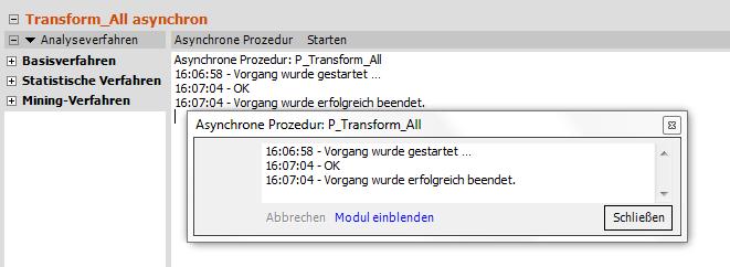Asynchrone Prozedur P_Transform_All, Ergebnisanzeige