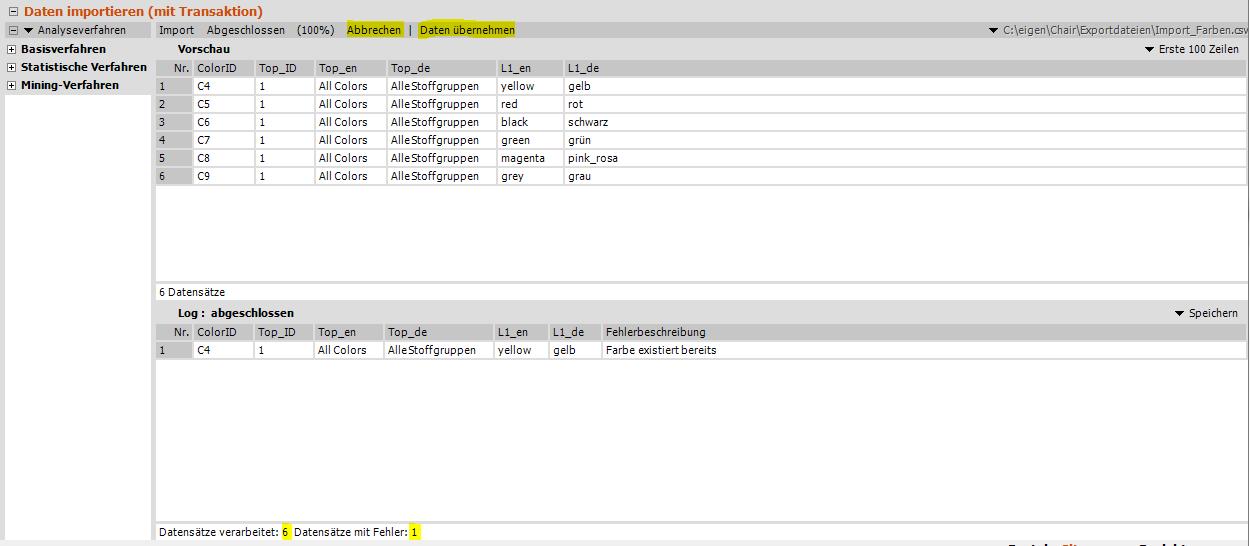 Daten importieren, Import ist ausgeführt