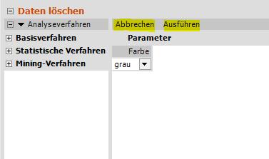 Daten löschen, Parameter ist gewählt