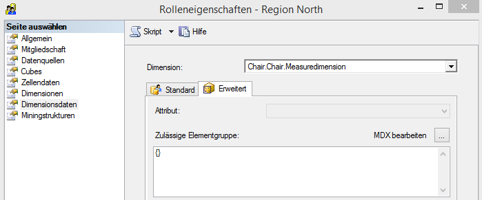 "Rolle ""Region North"", Attributsicherheit auf der ""Measuredimension"""