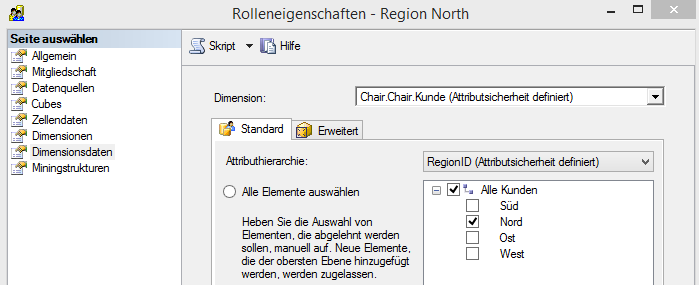 "Rolle ""Region North"", Attributsicherheit auf Regionen"