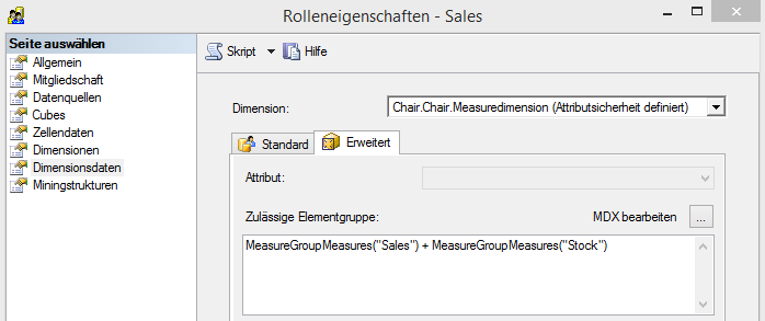 "Rolle ""Sales"", Attributsicherheit auf der ""Measuredimension"""