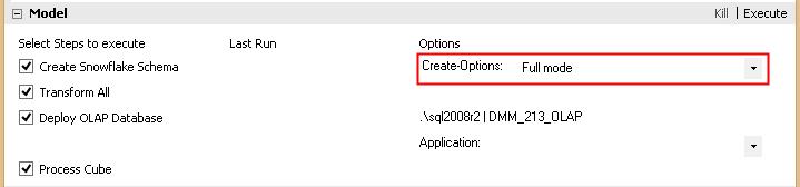 Selektionsmöglichkeit der Create-Snowflake-Modi in der GUI