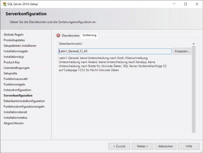 Abbildung 14 Installationsfenster Serverkonfiguration (Sortierung)
