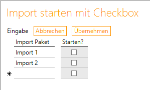 Import starten mit Checkbox