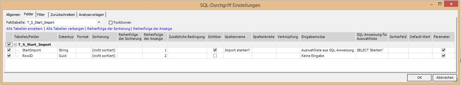 SQL-Durchgriff Einstellungen
