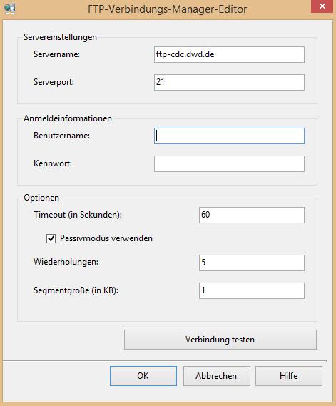 FTP-Verbindungs-Manager-Editor