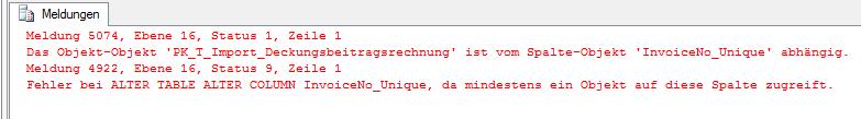 Abbildung 4 Fehlermeldung bei Datentypänderung einer Spalte mit Primary Key