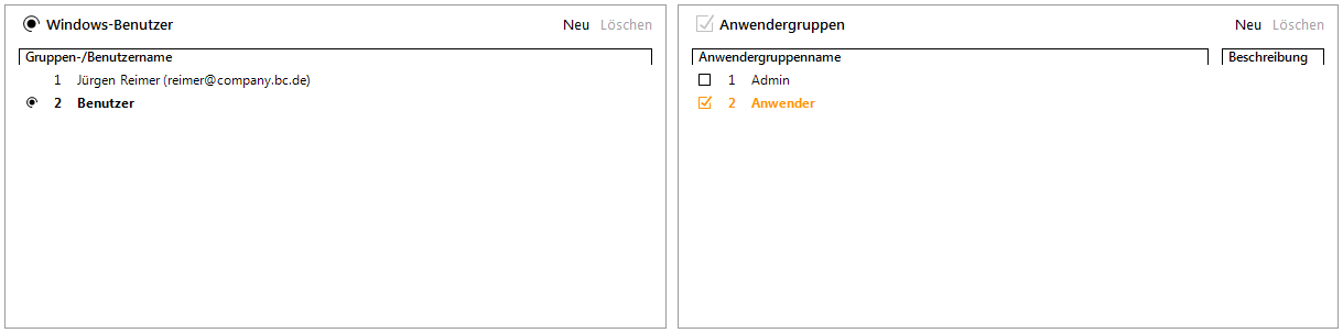 Abbildung 10 Zuordnung Benutzer zu Anwendergruppe