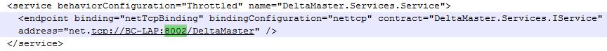 Abbildung 2 DeltaMaster.Service.exe.config - Bereich <service>