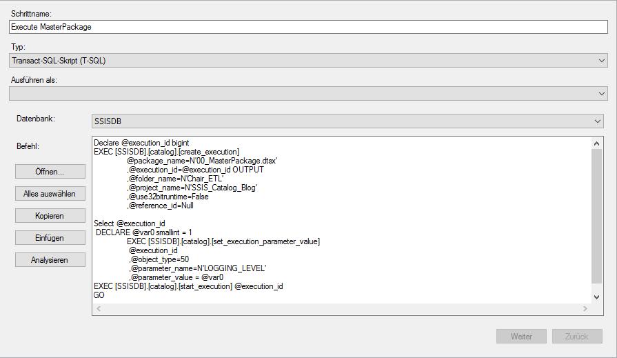 Paketausführung mit SQL Server-Agent