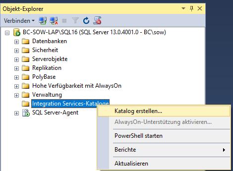 SSIS_Katalog_erstellen