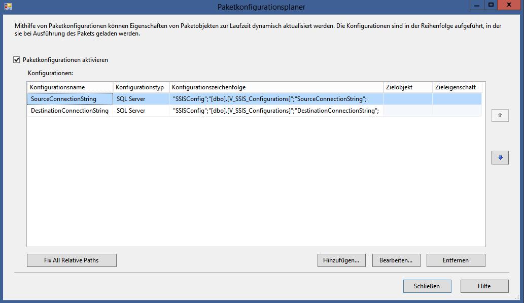 Abbildung 5 Datenbankkonfigurationen in SSIS