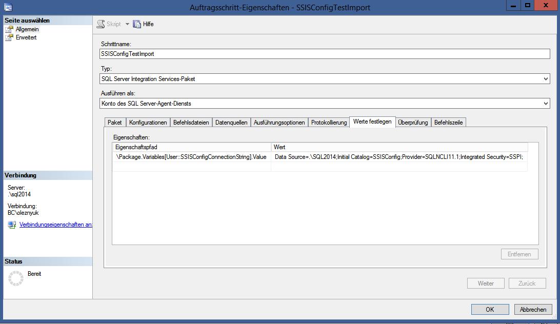 Abbildung 7 Die Verbindung zur Konfigurationsdatenbank