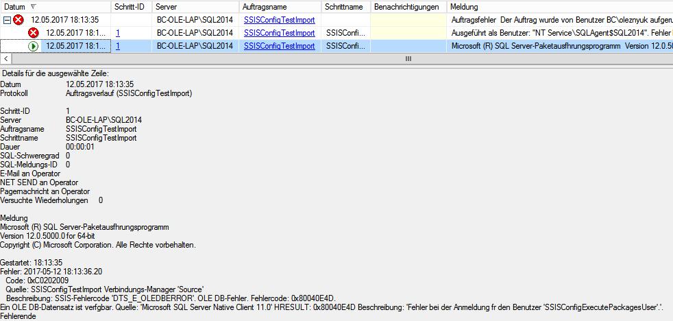 Abbildung 9 SQL Server Protokoll nach einer fehlerhaften Auftragsausführung