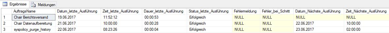 Abbildung 1 Daten zur Auftragsausführung