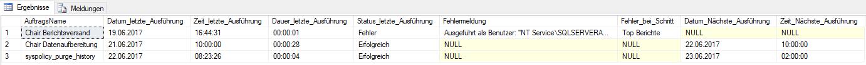 Abbildung 2 Daten zur Auftragsausführung mit Fehlermeldung