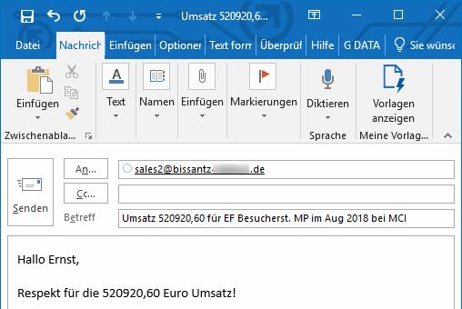 Dynamisch generierter E-Mail-Text mit den passenden Daten