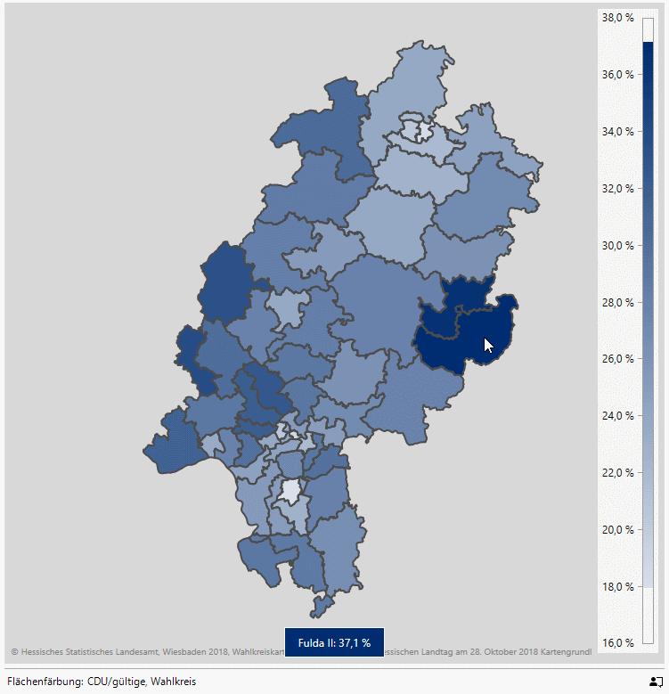 Stimmenanteil der CDU in den Landtagswahlkreisen