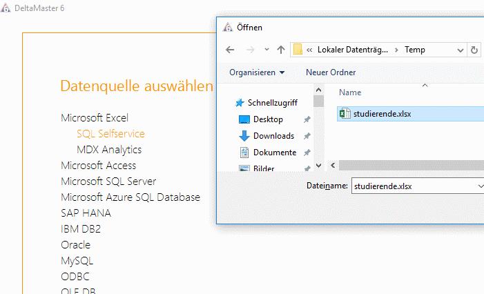 Anklinken an die Excel-Quelle