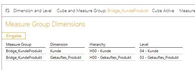 Die zu fixierenden Dimensionen der Hilfsdimension an die Bridge anbinden