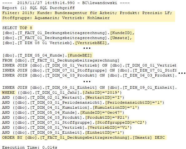Erzeugte SQL-Abfrage des SQL-Durchgriffs