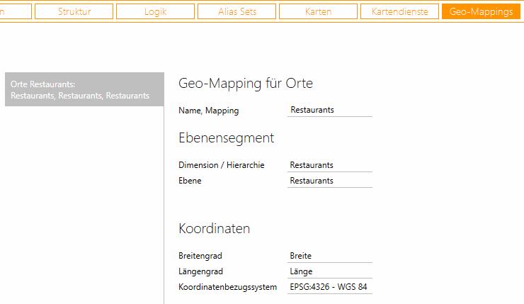 Einstellungen in Geo-Mappings in DeltaMaster