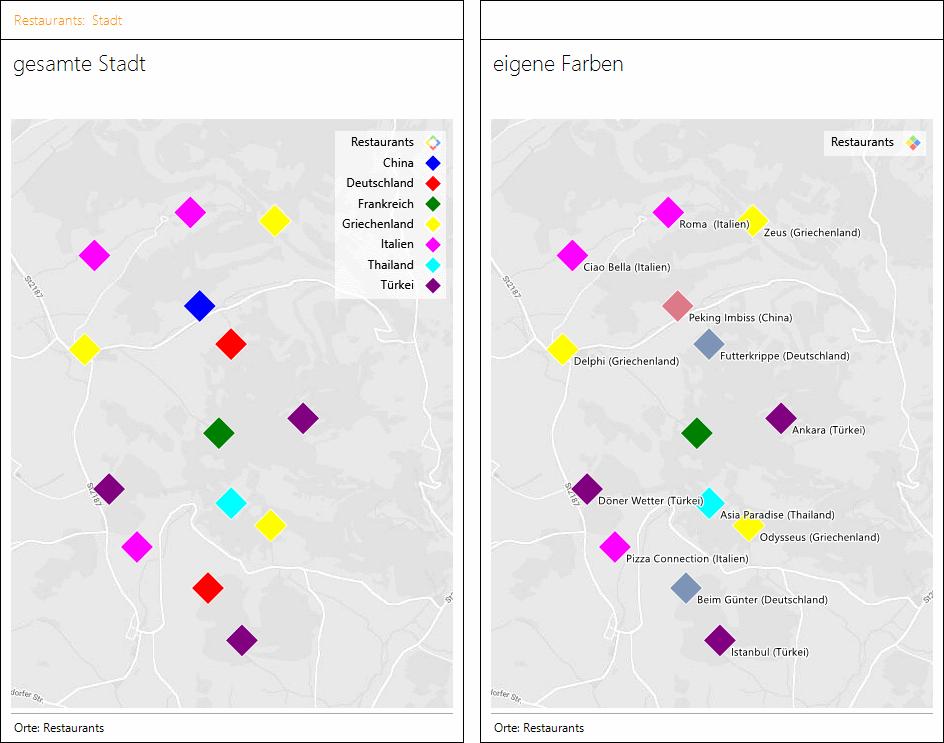 Jedes Restaurant hat in dieser Geo-Analyse die gewünschte Farbe