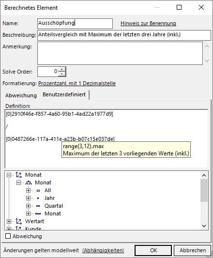 Berechnetes Element als Quotient aus Aktuell und dem Maximum