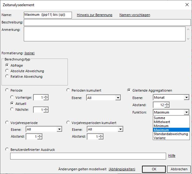 Zeitanalyseelemente können in DeltaMaster auch Funktionen von gleitenden Fenstern sein!