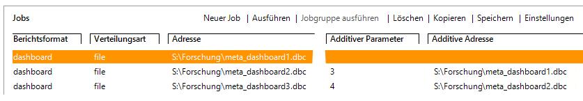 Drei Jobs erzeugen eine gemeinsame DB-Datei