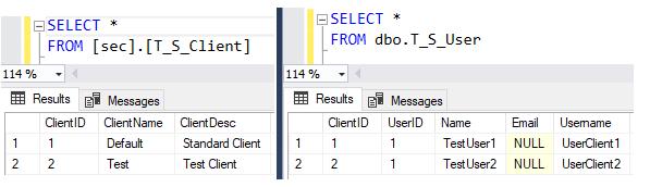 3 Inhalt der Tabellen T_S_Client (2 Mandaten) und T_S_User (2 Benutzer)