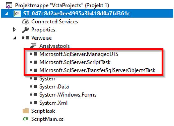 Zusätzliche Verweise im SSIS-Script-Task-Editor