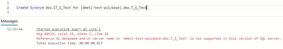 Fehlermeldung beim Zugriff per Synonym in der Microsoft Azure SQL-Datenbank